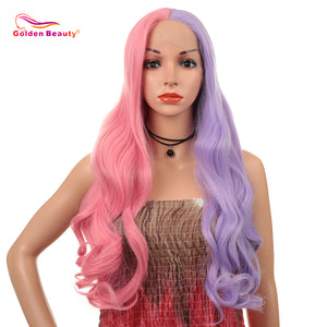 Golden Beauty 28inch Lace Front Synthetic Wig Mixed Colour Heat Resistant Fiber For Black Women Cosplay Party Wigs
