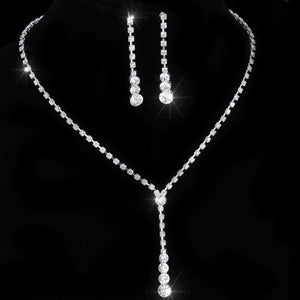 "Crystal Tennis Drop Necklace Sets 14""-17"" Silver Bridal Bridesmaid wedding engagement Jewelry sets Rhinestone Necklace Earrings"