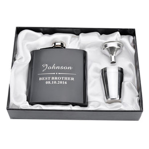 Personalized Engraved  6oz Hip Flask Set Stainless Steel Funnel Gift Box +2 Cups Bride Groom Best Man Usher Wedding Decor Favor