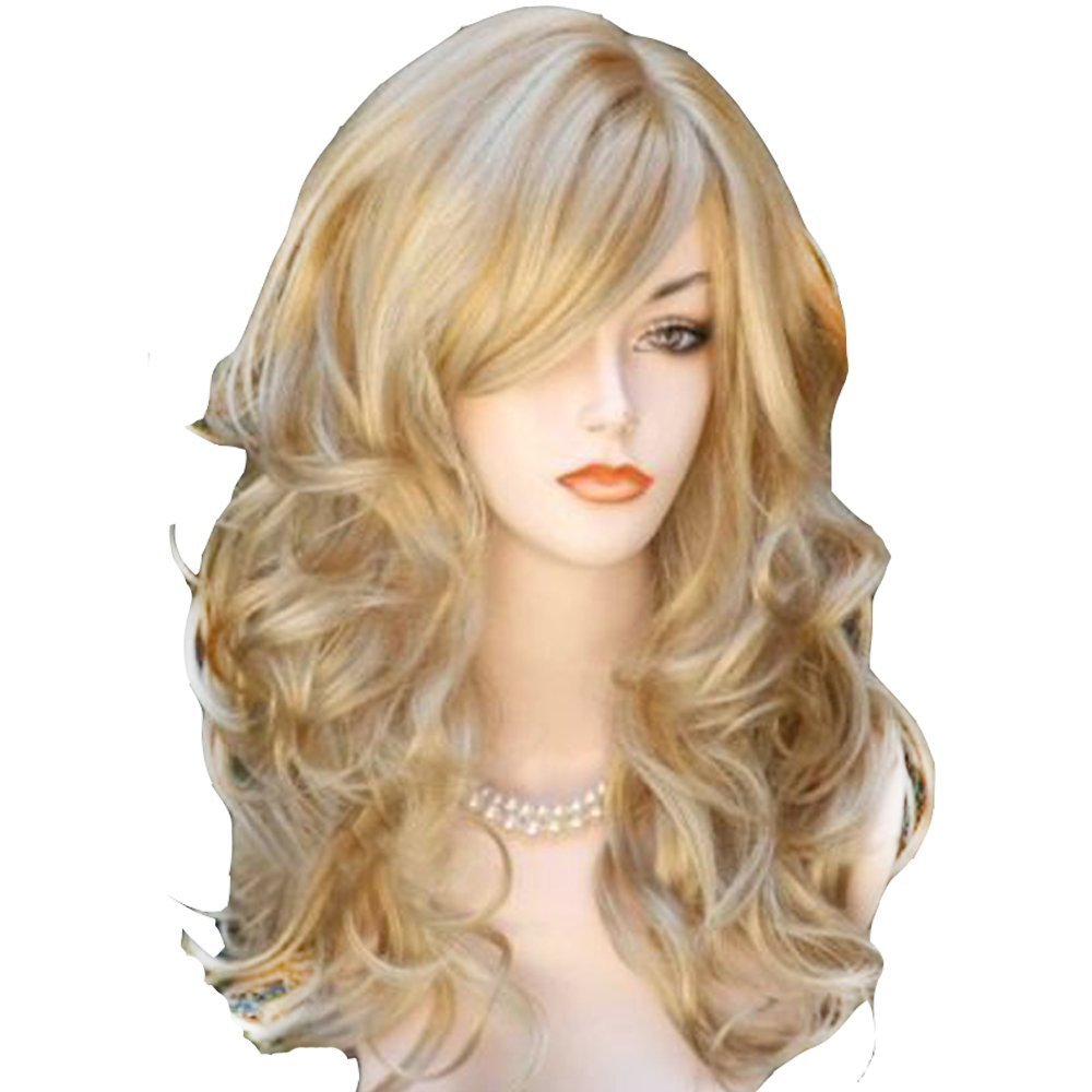 QQXCAIW Long Wavy Natrual Blonde  60 Cm Synthetic Hair Wigs