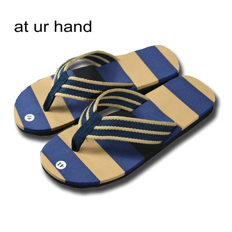 Mens Casual Striped Flip Flops Adult Summer Fashion Beach Shoes Sandals Home House Bathroom Nonslip Flat Slippers 2 Color