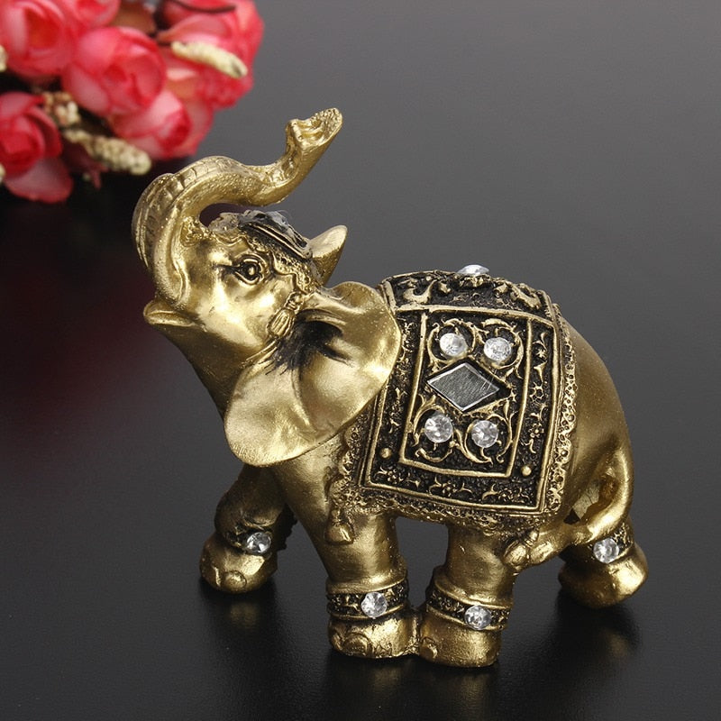 Feng Shui Elegant Elephant Statue Lucky Wealth Figurine Ornaments