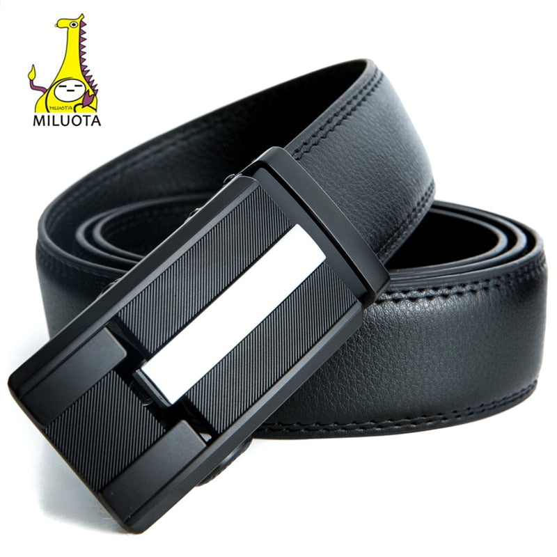 [MILUOTA] Mens belts luxury fashion cow genuine leather belts for men automatic buckle black leather belt men free shippingMU502