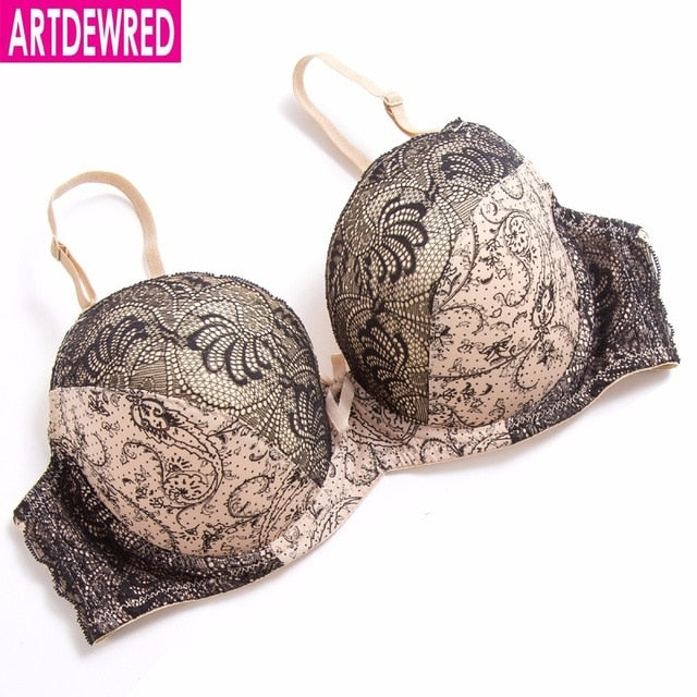 ARTDEWRED D E cup Lace Push Up bra for Plus Size Women 34 36 38 40 42 Women Large Cup Bras Brassiere Printing Style