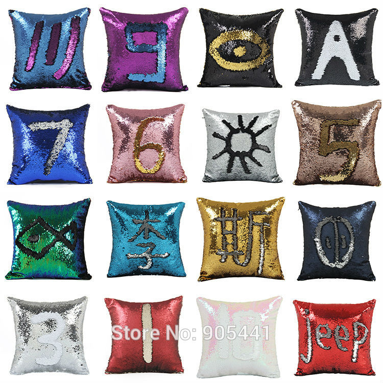 Reversible Sequin Throw Pillow Mermaid Sequin Pillow Case Magical Color Changing Home Decor Sofa Cushions Cover 40x40cm
