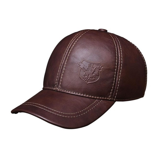 HL125 Spring free shipping genuine leather baseball cap in men brand new warm real cow leather caps hats