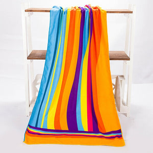 SZS Hot 70*140cm Colorful Rainbow Absorbent Microfiber Bath Beach Towel Drying Washcloth Swimwear Shower