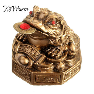 KiWarm Classic Toad Lucky Money Gifts Home Golden Color Feng Shui Chinese Coin Decoration Wealth Statue Decoration Ornament