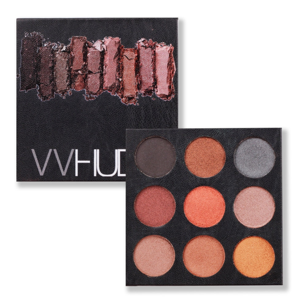 VVHUDA Eye Shadow Palettes Vegan Nudes Shades 9 Pressed Powder Cosmetics Set Kit Pro Warm Natural Ultimate Smoky Eyeshadow