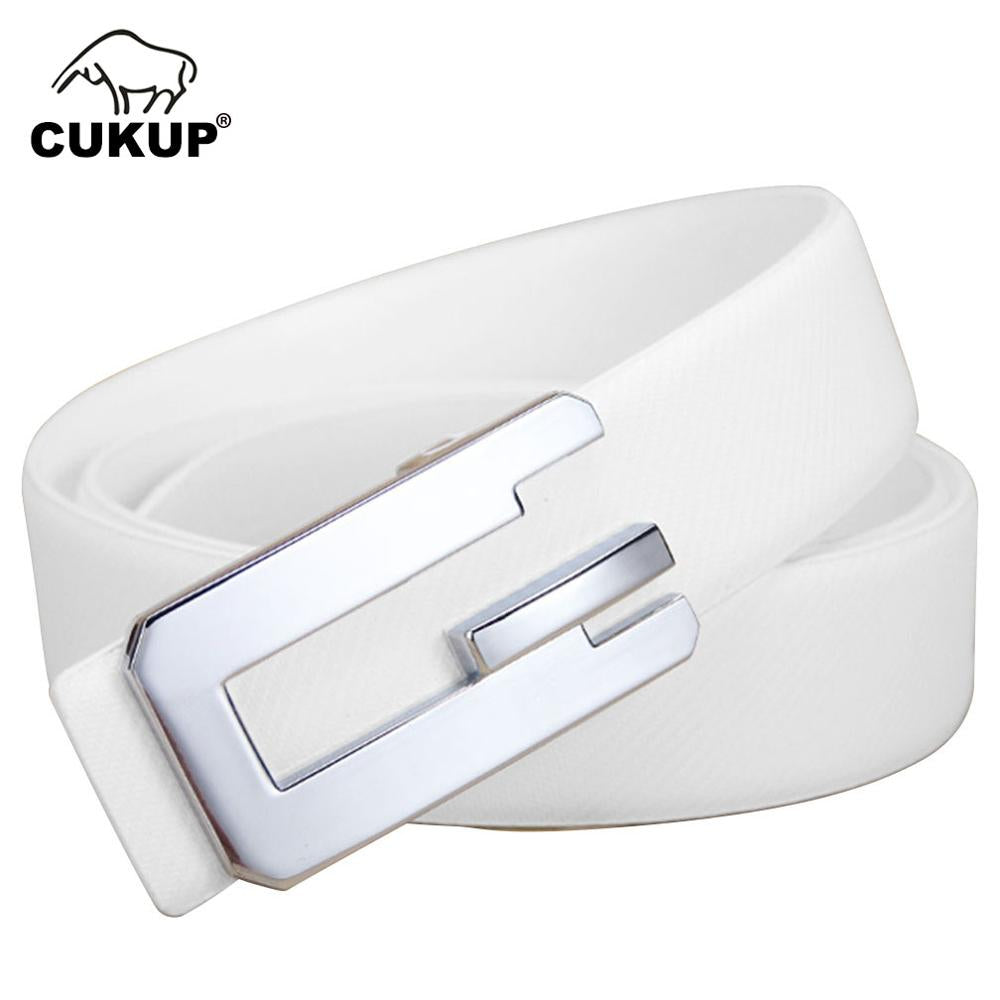 CUKUP Brand Name Design Quality White Cowskin Cowhide Men Male Sliver Smooth Buckle Metal Men's 3.3cm Width Belt for Men LUCK765