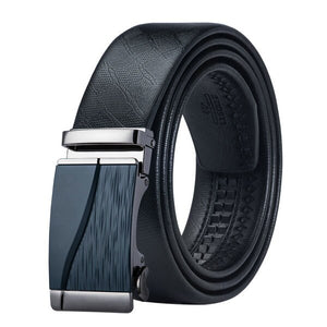 BK-0010 Barry.Wang 2017 Fashion Automatic Buckle Leather luxury Belts 110cm-150cm Long Business Male Alloy buckle Belts for Men