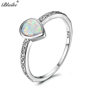 Blaike 925 Sterling Silver Filled Water Drop White/Blue/Purple Fire Opal Rings for Women Vintage Fashion Jewelry Birthstone Ring