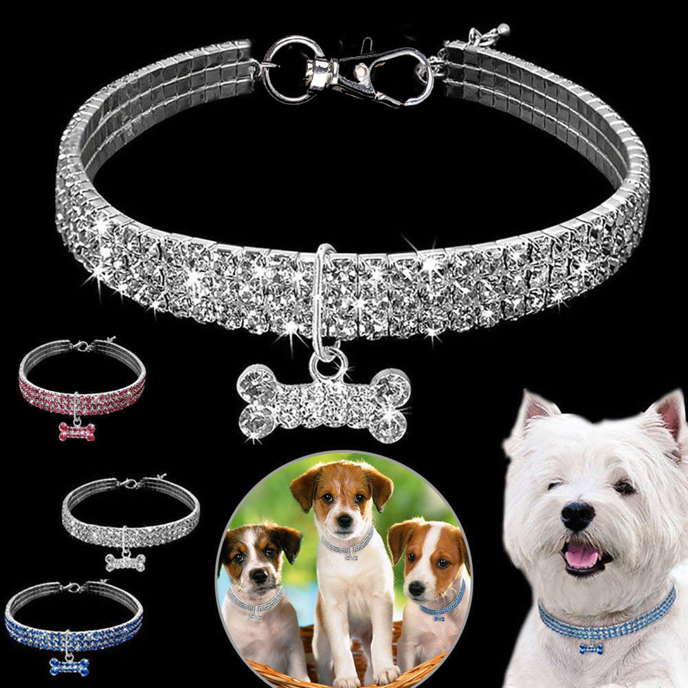 1PCS 3 Rows Of Rhinestone Stretch Pet Necklaces Dog