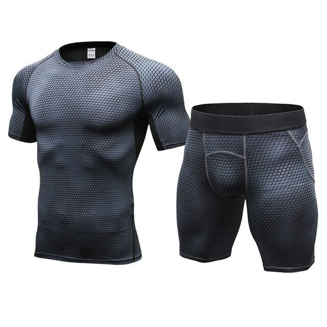 2ps Gym Suits men's Sport Suites Running sets Fitness clothes Yoga Sets Compression sports wear Running Suits Tracksuits for men