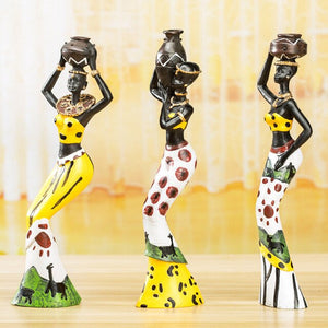 3Pcs/Set Sculpture Home Decoration Accessories African Statue Resin Statue Ornaments African Woman Staue Sculpture Party Gifts