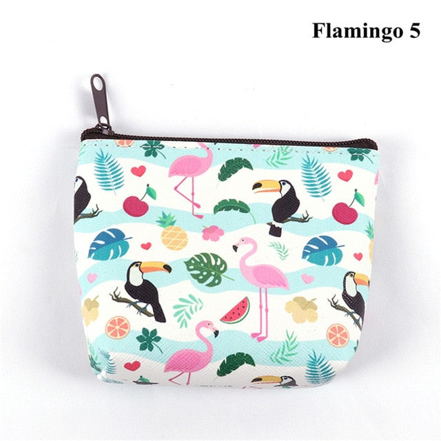 Women Girl Owl/Unicorn/Flamingo Printing Mini Portable Bags Fashion Coin Purse Card Holder Wallet Key Pouch Make up Cartoon Bag