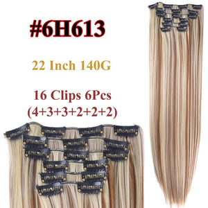 "Alileader 6Pcs/Set 22"" Hairpiece 140G Straight 16 Clips In False Styling Hair Synthetic Clip In Hair Extensions Heat Resistant"