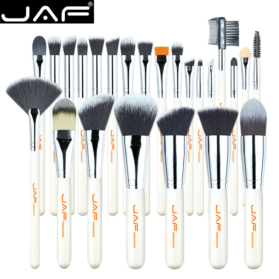 JAF 24pcs High Quality Makeup Brushes Tools, Professional Vegan Makeup Brush Set, Premium Makeup Brush Kit J2434Y-W