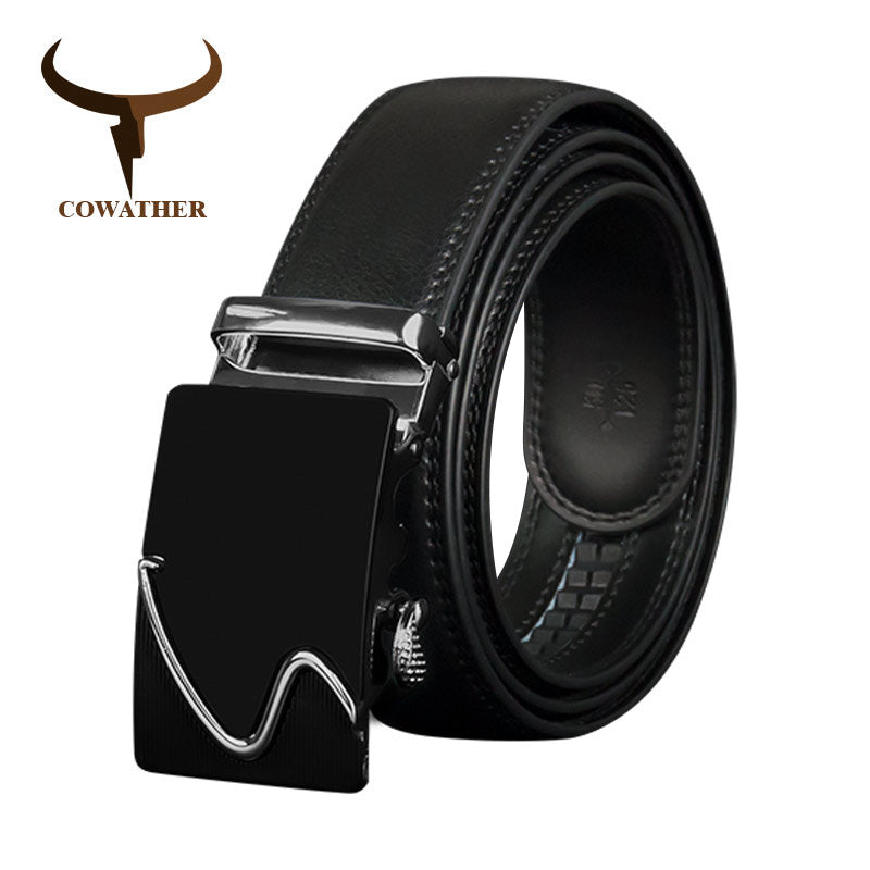 COWATHER Men Belts Top Cow Genuine Leather Men Belt Automatic Buckle Male Strap High Quality Metal Buckle Leather Straps CZ130
