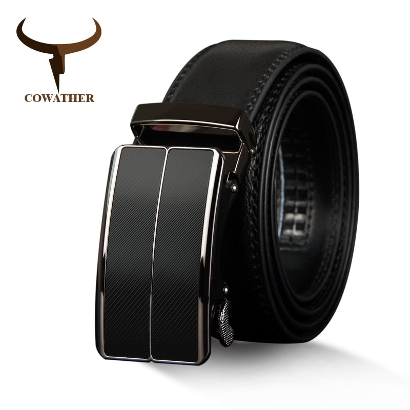 COWATHER New Arrival  cow genuine leather men's belt cowhide strap for male automatic buckle belts for men alloy buckle belts