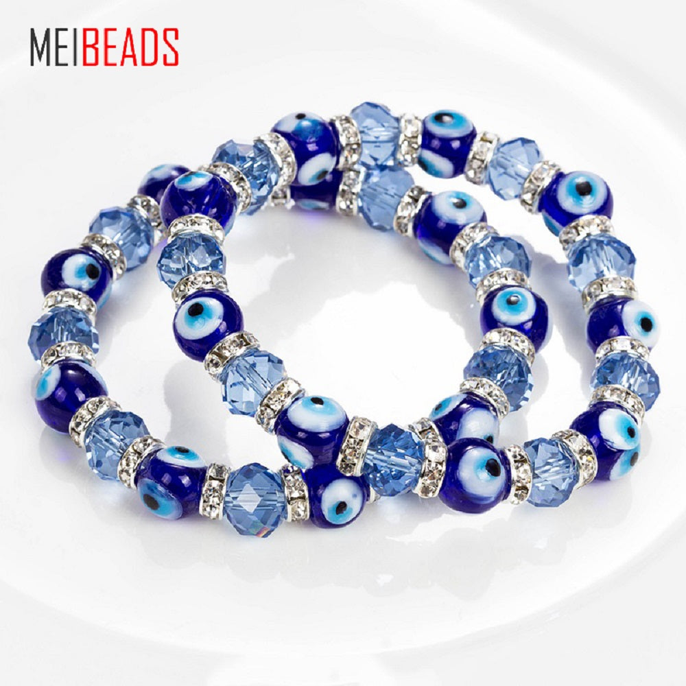 MEIBEADS Trendy Simple Evil Eye Religious Eye Charm Blue Beads Lucky Bracelet Best Match Turkish Bracelet For Women EY5226