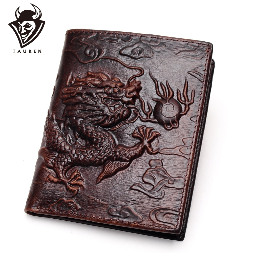 Chinese Dragon Wallet Vintage Genuine Leather Men's Wallets Brand Unique Design Pattern Male Folding Long Short Purse Cardholder