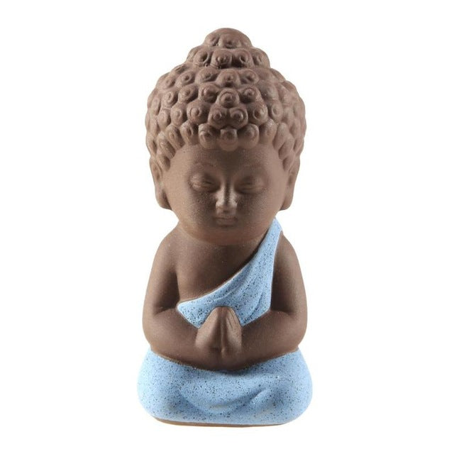 Small Buddha Statue Monk Figurine Tathagata India Mandala Tea Pet Purple Ceramic Crafts Succulent Flowerpot Decorative Ornaments
