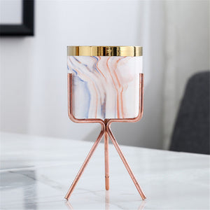 Nordic Marble Pattern Golden Ceramics Iron Art Vase Minimalism Style Tabletop Flower Pot Home Wedding Living Room Decoration