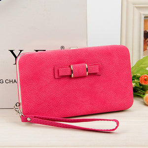 Wallet Female Women's Wallet Snap Coin Purse Phone Bag Bow Multi-card Bit Card Holder Purse Women Luxury  Billetera Mujer