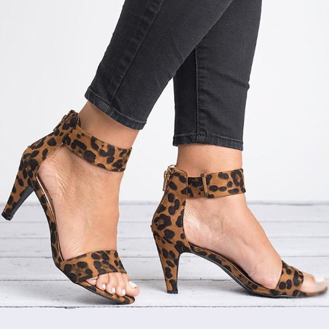 2019 Women Pumps Leopard High Heels New Women Shoes Summer Women Sandals Kitten Heels Zipper Women Heels Female Plus Size 43