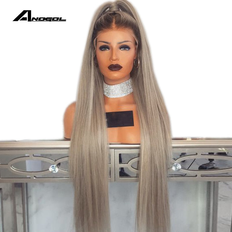 Anogol Ash Blonde 180 Density 26 inches Long Straight Synthetic Lace Front Wig with Baby Hair For Adult Women Middle Part