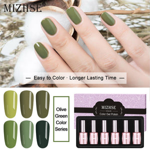 MIZHSE UV Nail Gel Polish Green Colors Series Nail Glue Vegan Hybryda Do Paznokci Nagellak Flex Gel UV Couleur