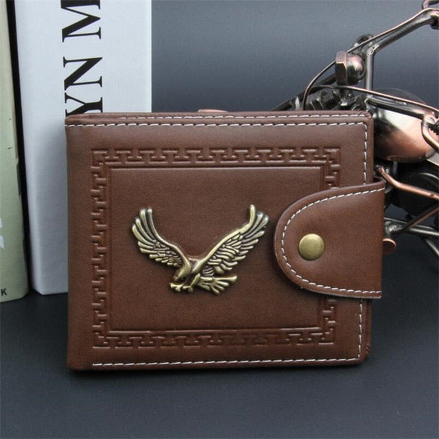 New Men Wallets Coin Pocket Business Zipper Men's Leather Wallet ID Credit Card Holder Exquisite Eagle Pattern Bifold Male Purse