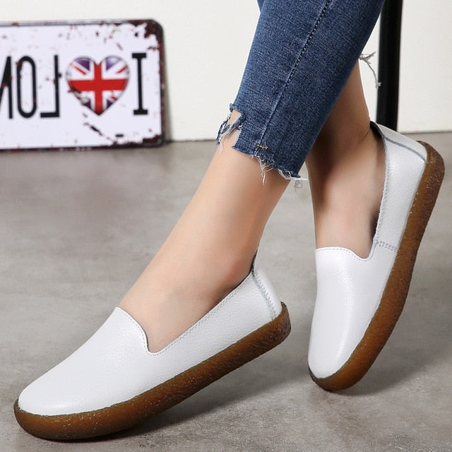 Women Shoes White Genuine Leather Shoes For Women Loafers Soft Mocassin Femme Oxford Shoes Slip On Casual Leather Flat Shoes
