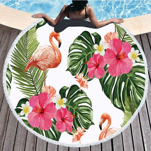 Round  Leaves Flower Flamingo Towel Beach