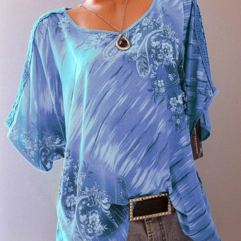 Women's Blouses Print Tunic O Neck Short Sleeve Loose Shirts Summer Tops 2019 Sexy Lace Casual Blouse Shirt Plus Size 5XL