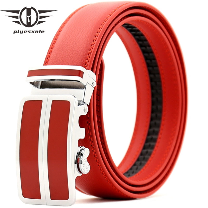 Plyesxale Blue Black Light Yellow Red Belt Men 2018 High Quality Cowhide Genuine Leather Belts For Men Automatic Waist Belt G71