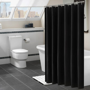 Modern Black Shower Curtains Waterproof Fabric Solid Color Bath Curtains For Bathroom Bathtub Large Wide Bathing Cover 12 Hooks