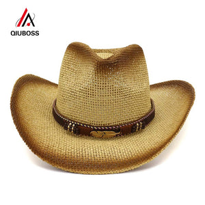 QIUBOSS Brown Spray Paint Summer Outdoor Sunscreen Cap Sunhat Men Women Wide Brim Paper Straw Jazz Cowboy Cowgirl Hats