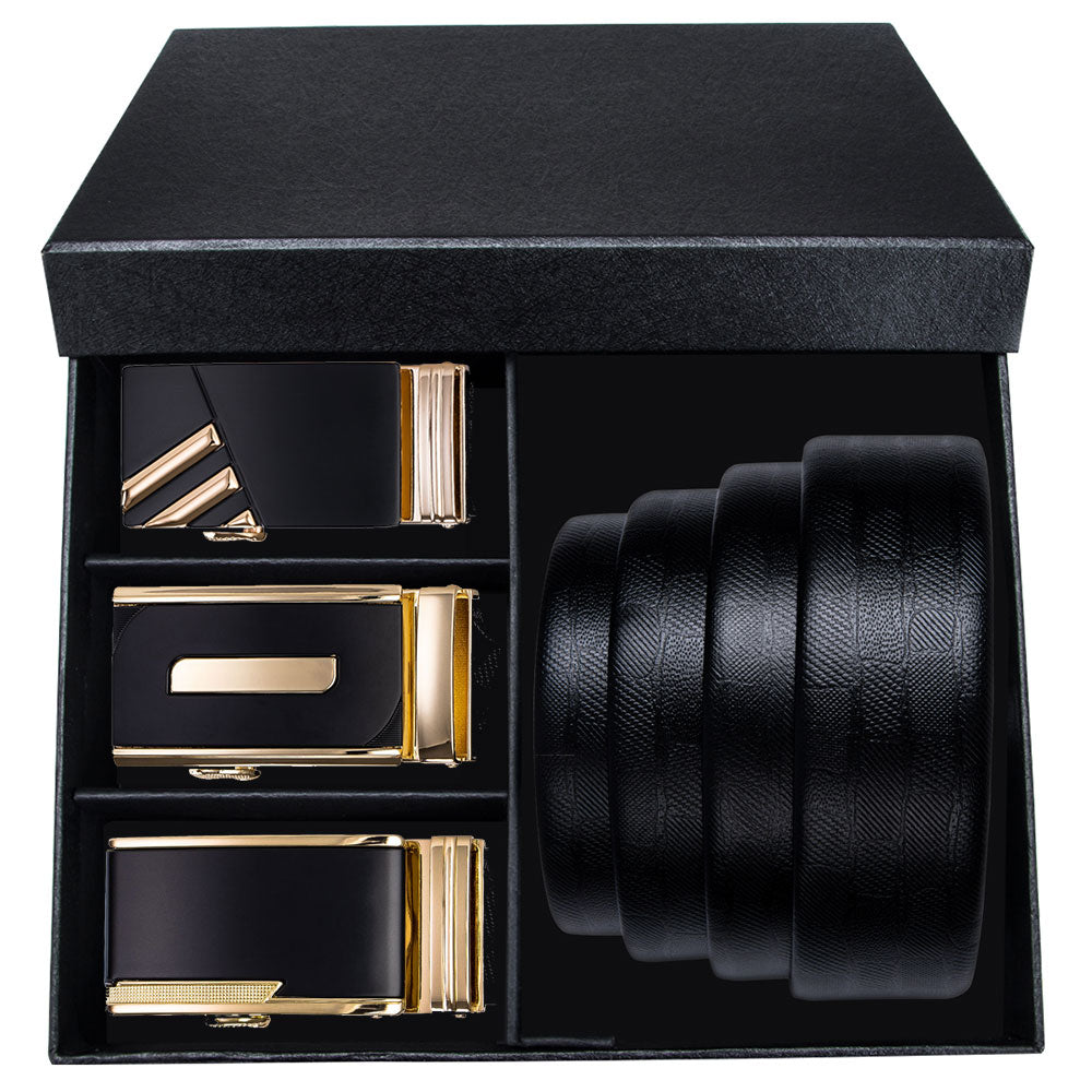 Boxed Classic Men's Belt for Wedding 2019 New Fashion Gold Buckle Automatic Belts for Men Solid Genuine Leather Jeans Strap