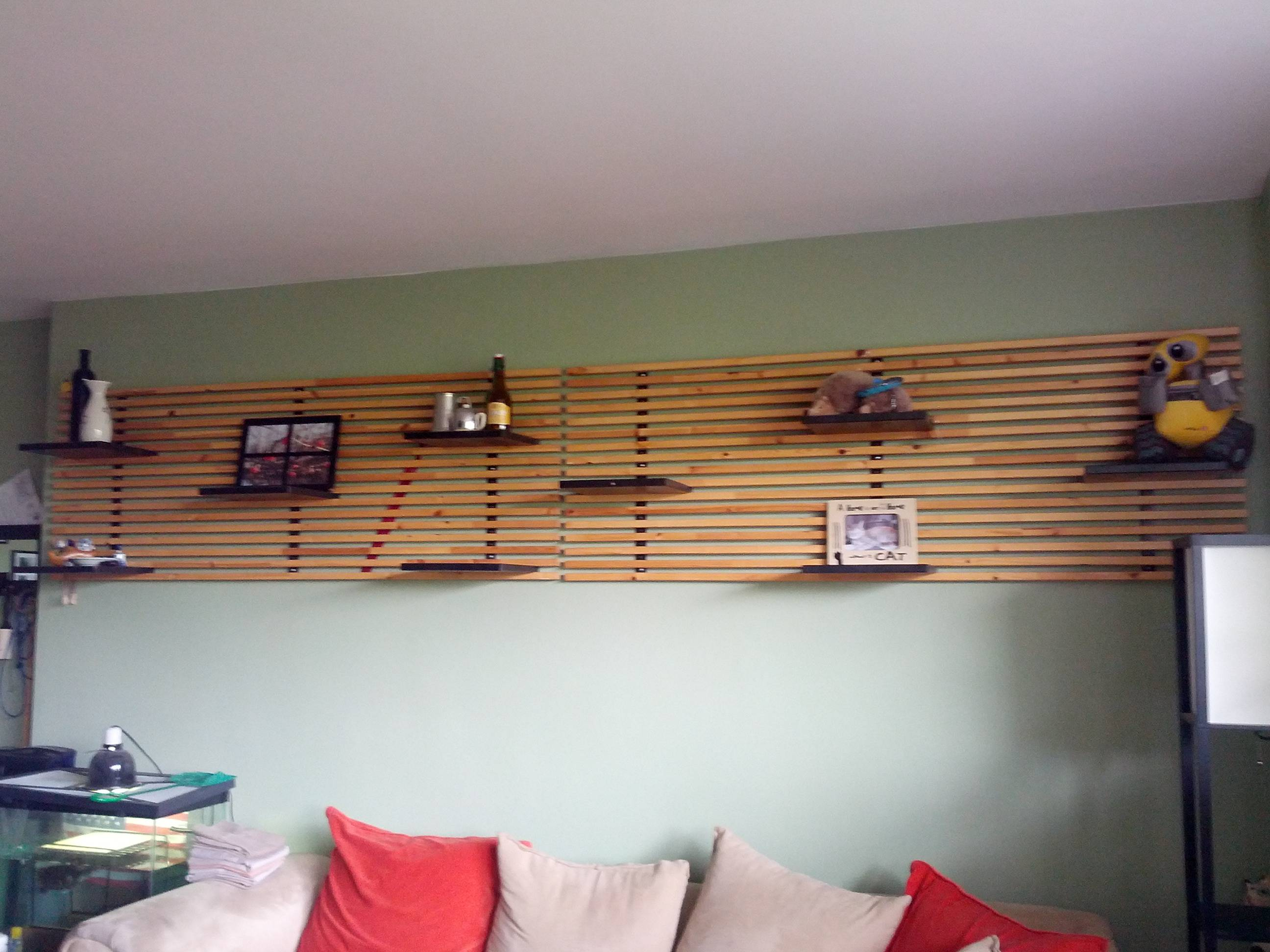 Ikea mandel headboard turned into feature wall shelf panyl - Ikea tete de lit ...