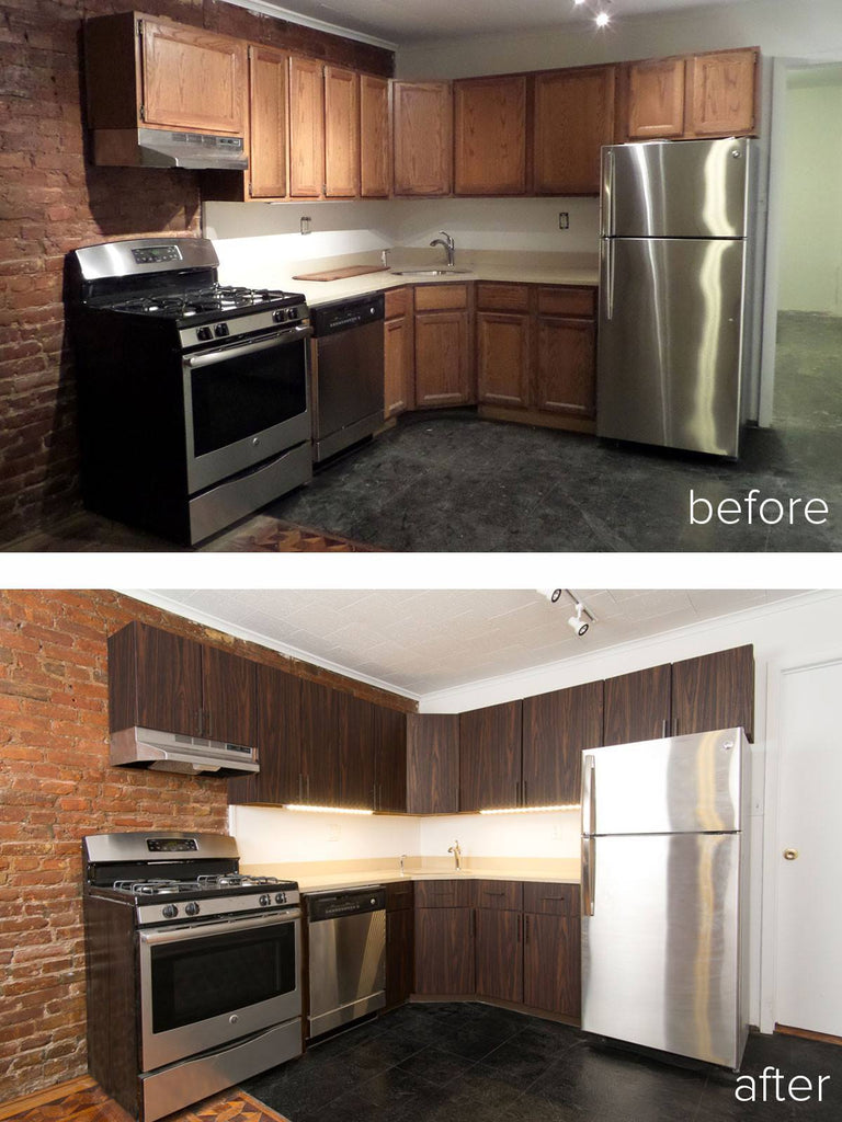 Traditional to modern new kitchen cabinet doors panyl for Kitchen cupboard makeover before and after