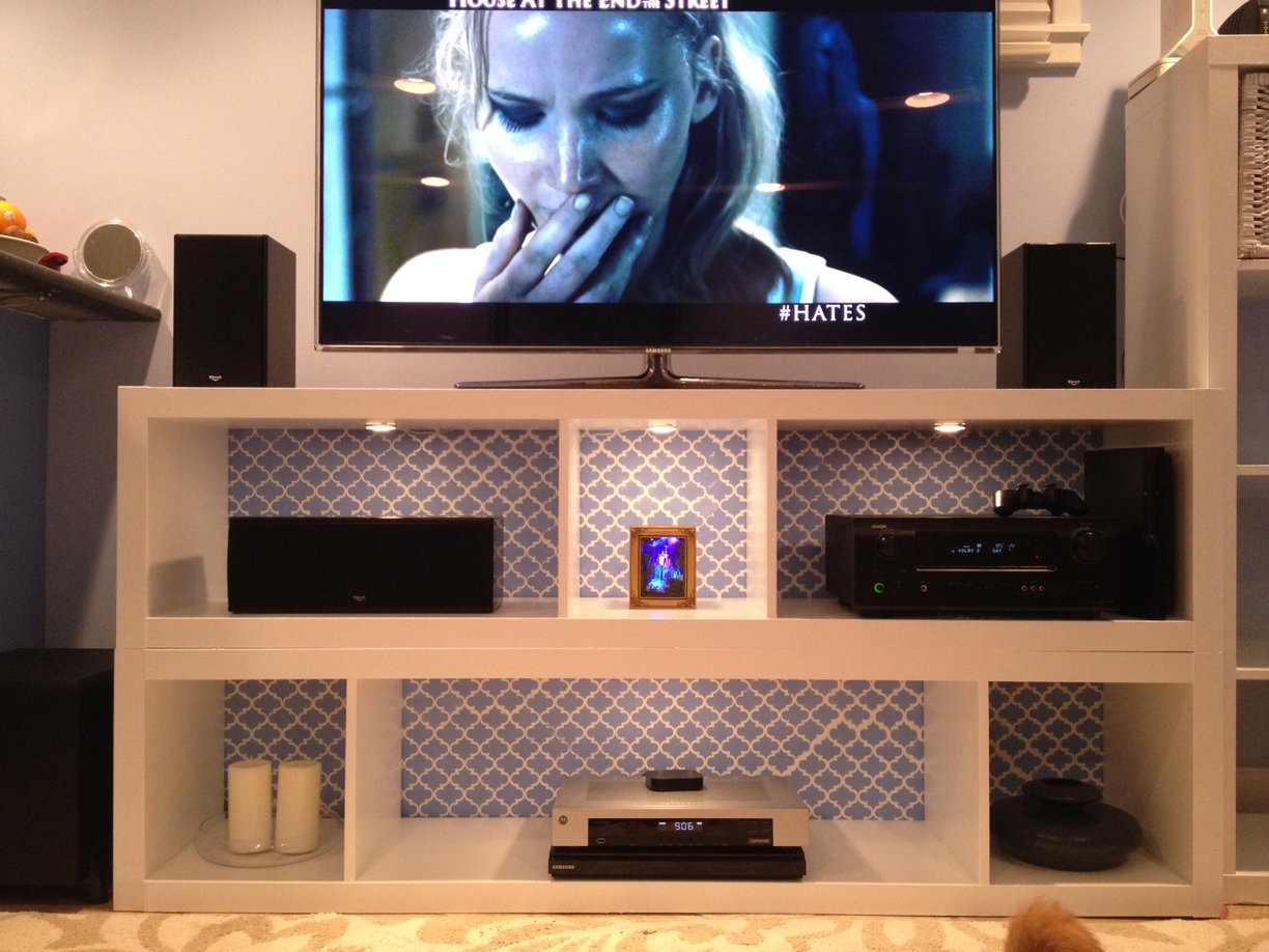 Pair Of Expedits Turned Tv Stand With Flashy Interior Panyl