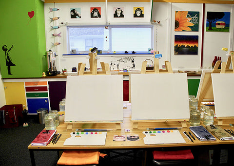 Heart for Art paint class canvas and easel