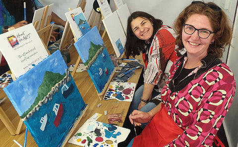 Smiling ladies at their Heart for Art Paint Party