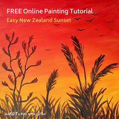 easy sunset painting red orange sky with black toi toi and flax plant silhouettes