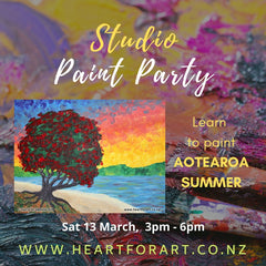Colourful image showing easy sunset painting with details for 13 March studio paint party