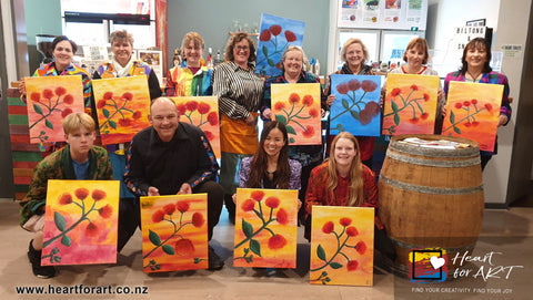 Social painting group bookings and work functions Heart for Art