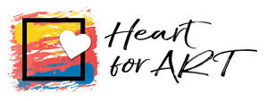 Heart for Art logo yellow red blue sunset behind black picture frame with white heart in front