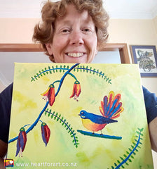 Happy virtual paint party participant with her fantail painting